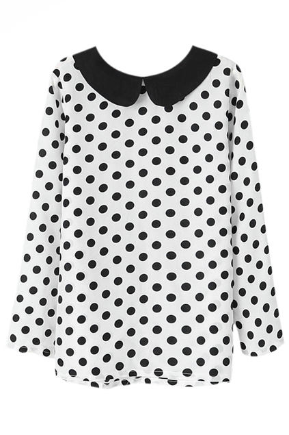 ROMWE | Polka Dots Print White Blouse, The Latest Street Fashion