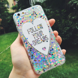 phone cover follow your dreams sparkle fashion style cute trendy glitter quote on it colorful silver iphone case it girl shop