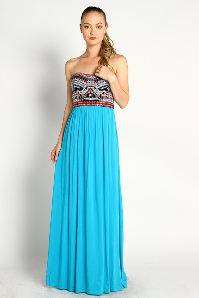 Estrilla blue & embroidered maxi dress – boutique posh