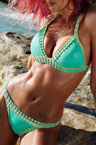 swimwear zaful bikini girl mint green triangl trendy style beach summer fashion sexy bikini