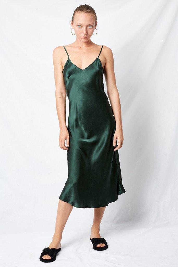 90s Silk Slip Dress Emerald   Silk Laundry   Harry & Gretel Doubleview   Dress   Slip