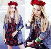 dress,aksinya air,self made flower crown,flower crown,bracelets,denim jacket,bag,jacket,jewels,ukraine,hair adornments