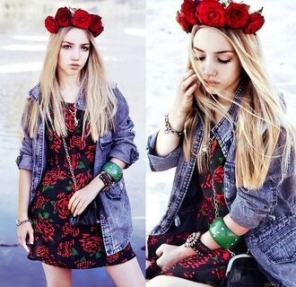 dress aksinya air self made flower crown flower crown bracelets denim jacket bag jacket jewels ukraine hair adornments