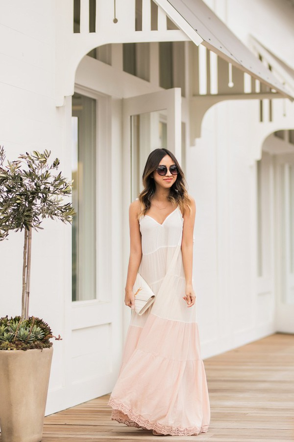 lace and locks blogger dress bag sunglasses shoes maxi dress spring dress spring outfits ysl bag