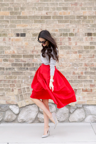 skirt sweater sweatshirt grey grey sweater red red skirt heels grey heels shoes