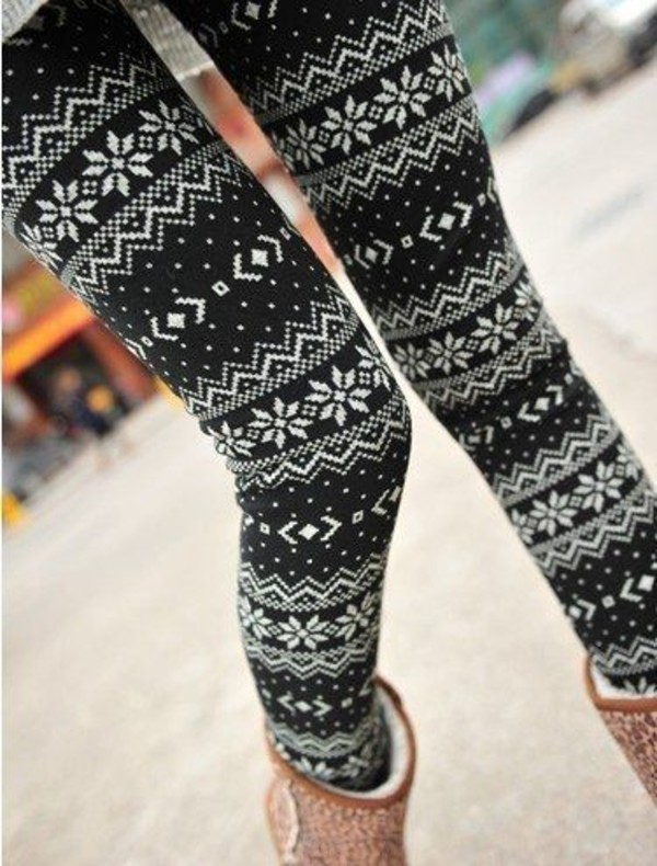 Sexy Womens Slim Warm Xmas Snowflake Reindeer Knitted Tights Pants