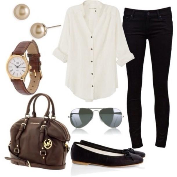 blouse bag sunglasses jewels