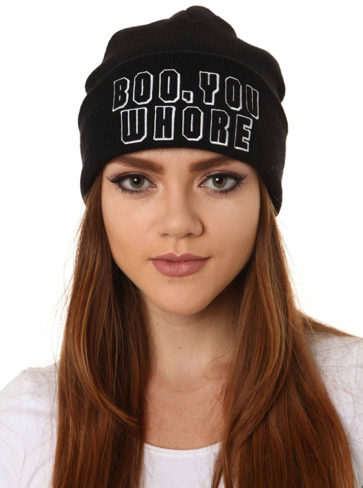 Black Beanie - Boo You Whore Beanie | UsTrendy