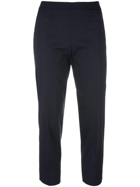 Piazza Sempione cropped women spandex blue silk pants