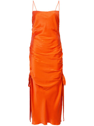 dress slip dress women silk yellow orange