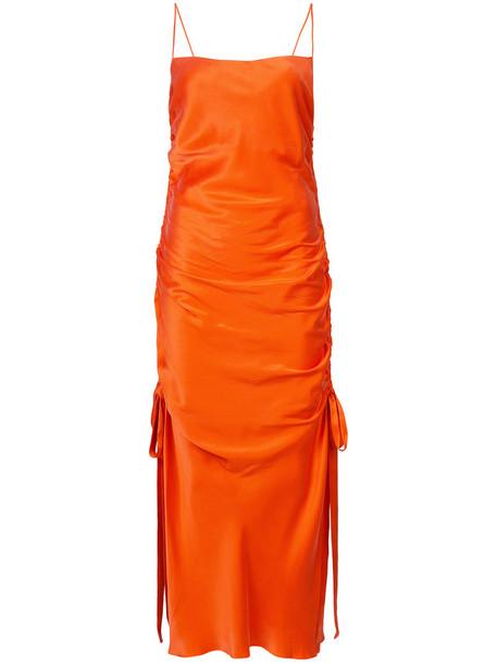 dress slip dress women silk yellow orange
