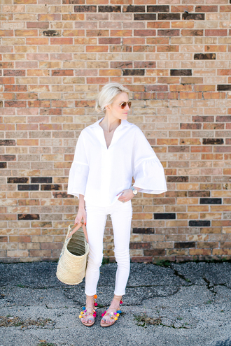 luella & june blogger sunglasses jeans shoes bag make-up white top white jeans white blouse white shirt blouse basket bag straw bag aviator sunglasses sandals pom poms pom pom sandals flat sandals spring outfits bell sleeves bell sleeve top