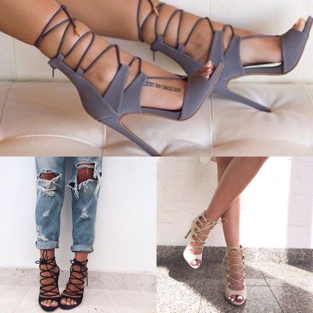 Strappy Nude Lace Up Heels - Shop for Strappy Nude Lace Up Heels