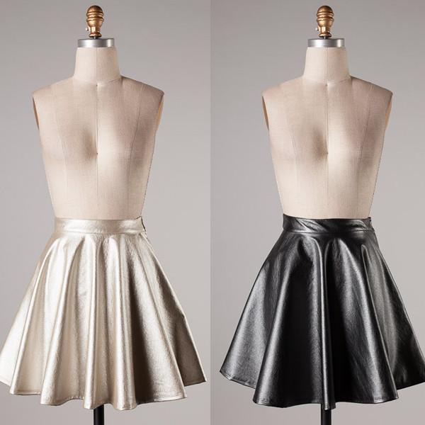 skirt leather skirt faux leather shimmering skater skirt