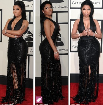 fringed dress grammys 2015 red carpet dress red carpet v neck dress dress heels black heels black dress black girls killin it nicki minaj style booty gorgeous sequins girly beautiful shoes