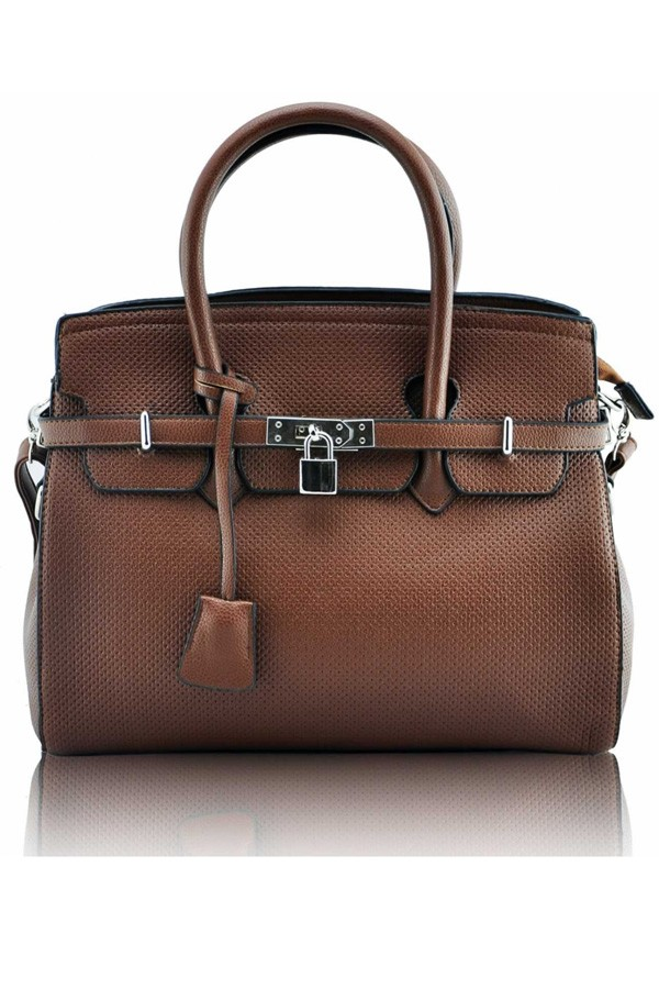 Brown tiffany padlock tote bag