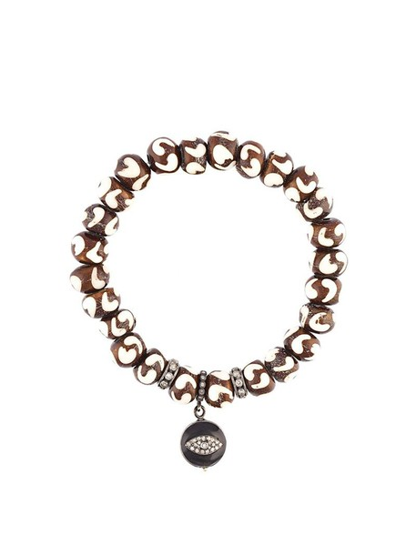 Loree Rodkin wood women beaded charm bracelet silver brown grey jewels