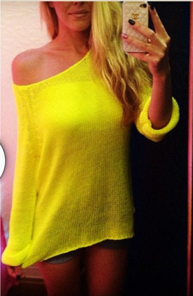 sweater off the shoulder sweater yellow