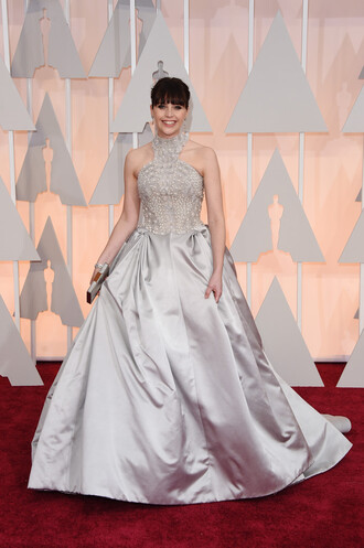 dress gown prom dress wedding dress red carpet dress felicity jones oscars 2015 make-up bag