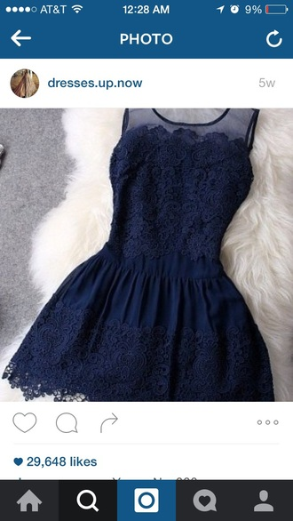 dress blue dress short dress lace dress crochet dress dak blue dress mini dress homecoming dress special occassion dress simple dress