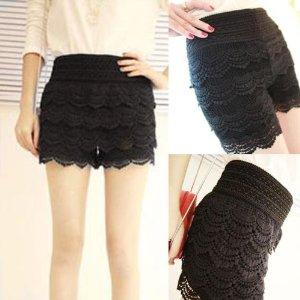 Amazon.com : Mokingtop Fashion New Korean Women Crochet Tiered Lace Shorts Skorts Safety Short Pants (Black) : Beauty