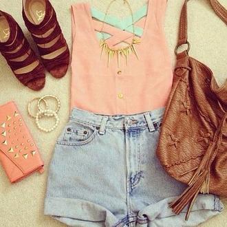 blouse shorts shoes pink light blue necklace vintage bag studs gold