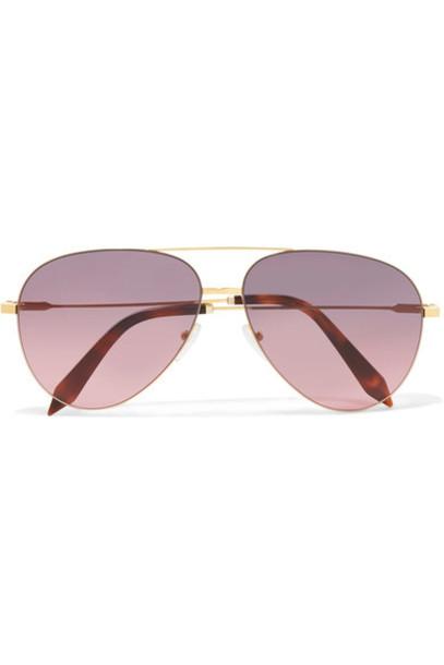 Victoria Beckham style classic sunglasses gold pink