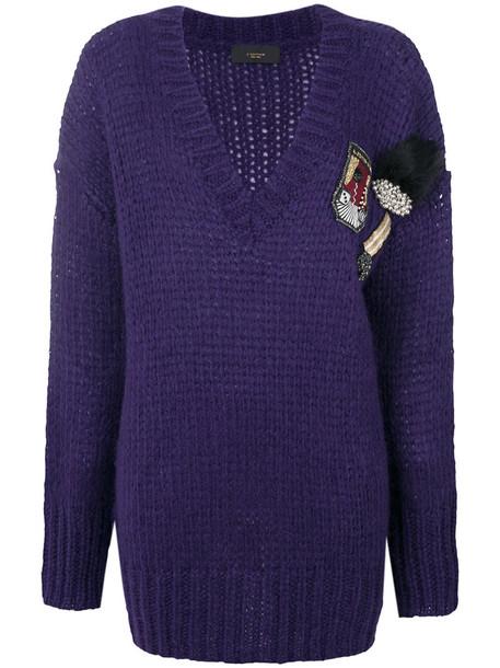 Lédition - patch detail V-neck jumper - women - Acrylic/Nylon/Mohair - L, Pink/Purple, Acrylic/Nylon/Mohair