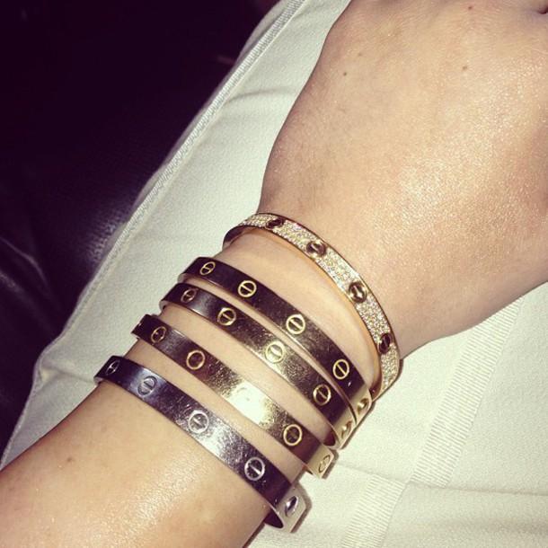jewels bracelets gold jewelry stacked bracelets bracelets rose gold silver cristaks cristals diamonds jewelry kylie jenner bracelett kylie jenner jewelry cartier love bracelets