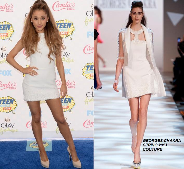 The Fashionista Stories: Ariana Grande in Georges Chakra Couture at the 2014 Teen Choice Awards