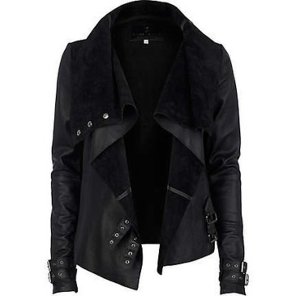 Black drape leather jacket - leather / leather look jackets ...