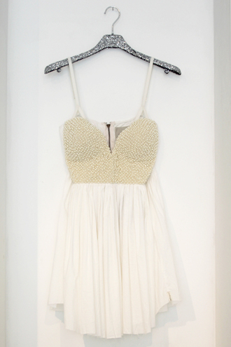dress gold white homecoming beaded bodice homecoming dress gold bodice zip-up spaghetti strap spaghetti straps dress