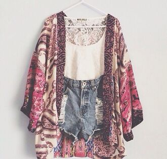 t-shirt fashion kimono kimono shorts white denim floral blouse sweater i want this whole outfit but mainly the shawl cardigan boho body boyfriend jeans tank top crop tops high waisted shorts vintage pattern silk fashion lace chic cute outfits