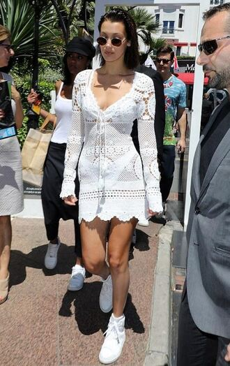 dress white white dress sneakers bella hadid model off-duty spring outfits spring dress cannes