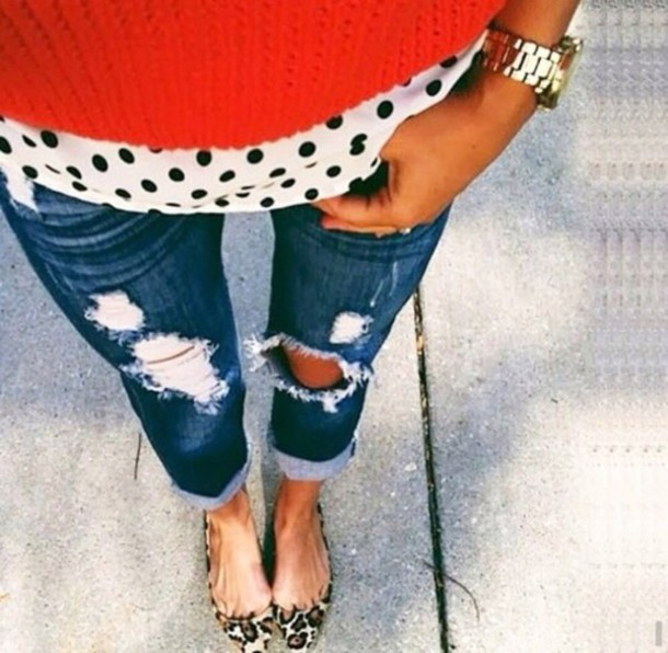 shoes cheetah print shoes poka dot white black shirt blouse celebrity red ripped jeans