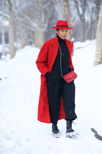 where did u get that blogger hat red coat duck boots