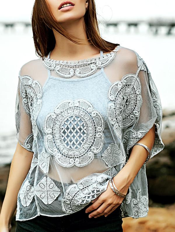 shirt see through summer fashion style beach trendy top dressfo