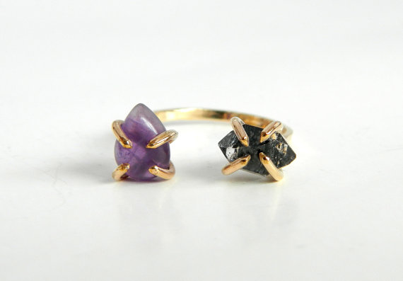 Duo Raw Diamond and Amethyst Gold Ring by camilaestrella on Etsy