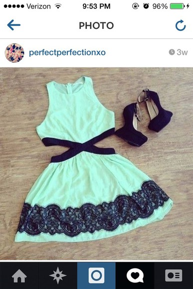teal dress dress cut-out dress side split dress black fashion green short instagramfashion instagram like