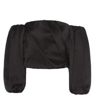 blouse silk satin black top