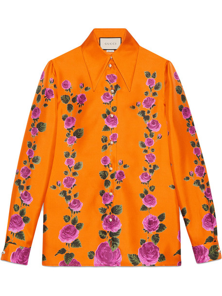 gucci shirt rose women print silk yellow orange top