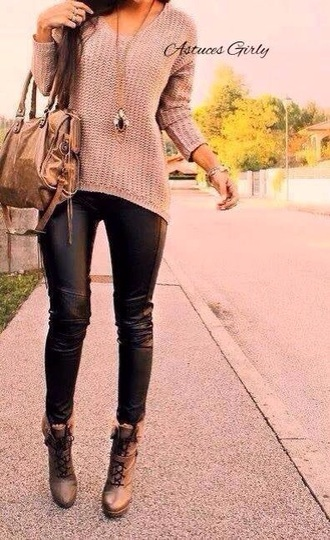 black pants t-shirt white t-shirt denim streetstyle streetwear jewels necklace boots skinny pants blouse bag style classy leather pants lace up crochet denim shirt winter outfits beige winter sweater knitwear knitted sweater platform shoes hot black pantsuit pantsuit winter boots