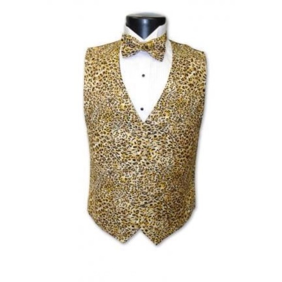 cheetah print jacket vest bowties