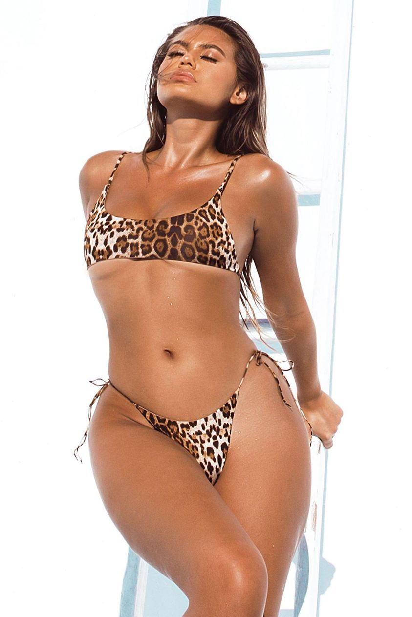 Khloe Crop Bikini Top - Leopard