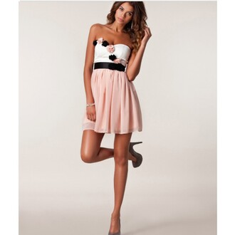 dress flowers 3d wrapped chest chiffon strapless strapless dress pink white black and pink flower floral short dress sleeveless sleeveless dress evening dress sexy lady fashion newly you want it best outfit puff sleeves