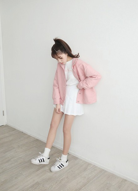 Jacket Pink Pink Jacket Pastel Pastel Pink Spring Spring Outfits Kfashion Asian Fashion