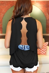 top,cut-out,cup cake,cupcake cutout,cupcake,blouse,summer,open back,button back,button,black,solid