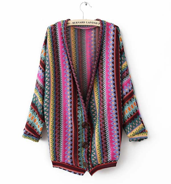 Boho ethnic colorful wave stripe knit top blouse sweater cardigan s m tfl