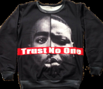 sweater white tupac biggie red black trust no one sweatshirt