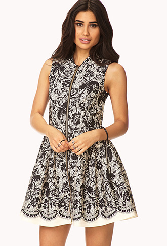 Elegant Abstract Fit & Flare Dress | FOREVER21 - 2000110195